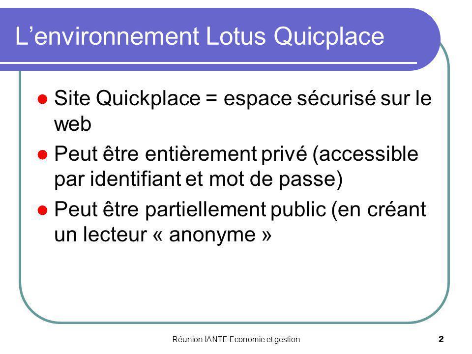 Réunion IANTE Economie et gestion2 Lenvironnement Lotus Quicplace Site Quickplace = espace sécurisé sur le web Peut être entièrement privé (accessible