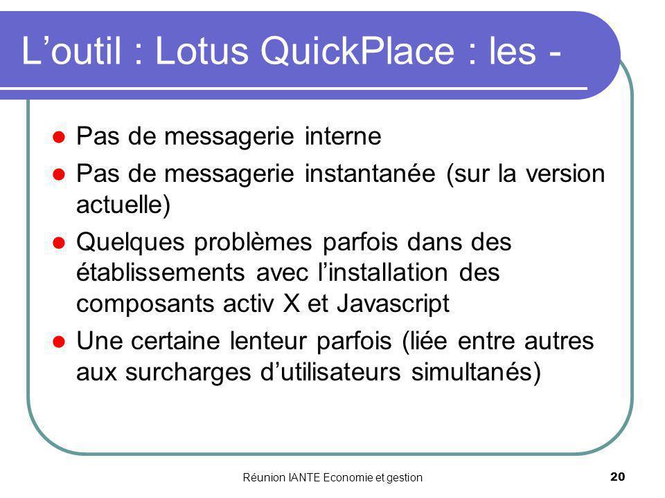 Réunion IANTE Economie et gestion20 Loutil : Lotus QuickPlace : les - Pas de messagerie interne Pas de messagerie instantanée (sur la version actuelle