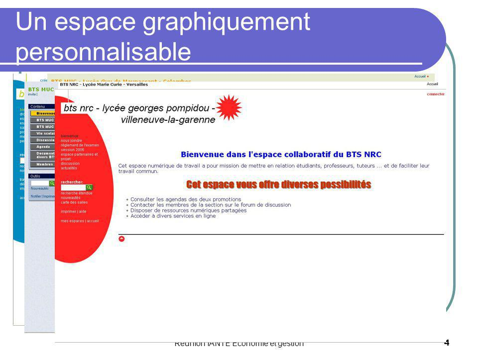 Réunion IANTE Economie et gestion4 Un espace graphiquement personnalisable