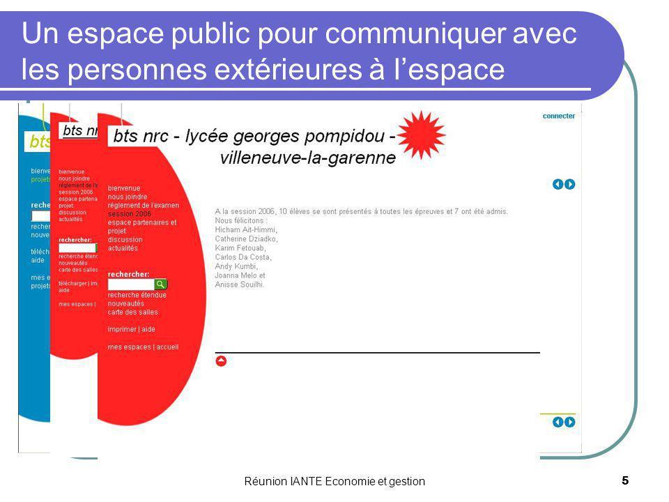 Réunion IANTE Economie et gestion6 La plate-forme collaborative : Un espace numérique de travail Un espace daccueil qui souvre vers dautres espaces sécurisés