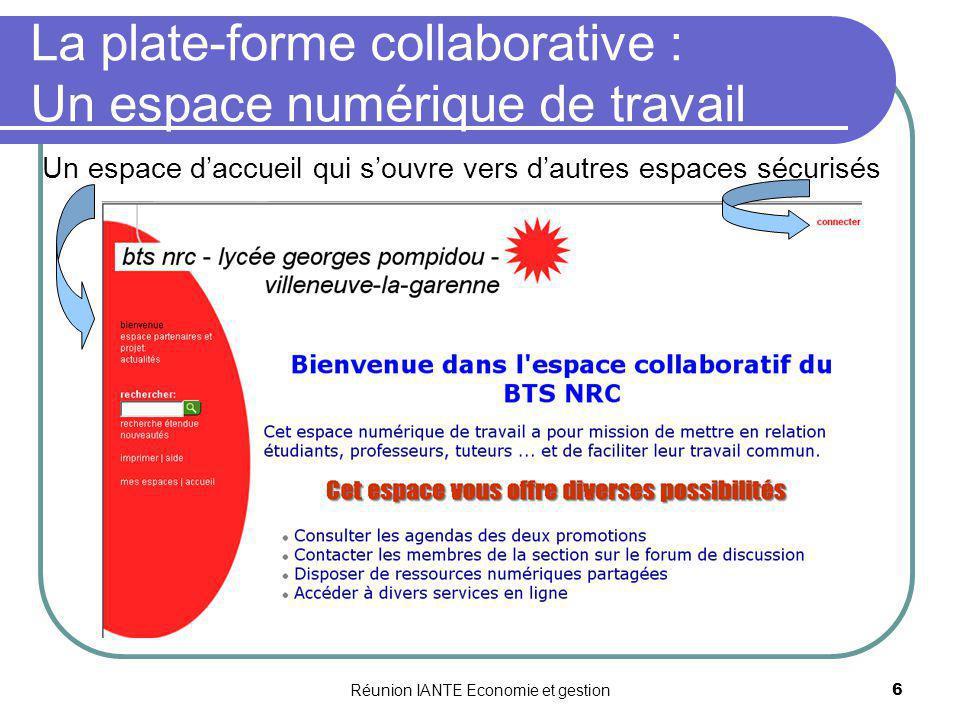 Réunion IANTE Economie et gestion6 La plate-forme collaborative : Un espace numérique de travail Un espace daccueil qui souvre vers dautres espaces sé