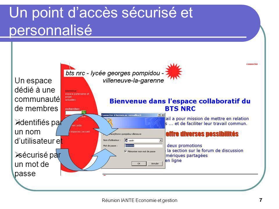 Réunion IANTE Economie et gestion8 Un accès personnalisé selon lutilisateur Lecteur Le lecteur est autorisé à lire des pages.