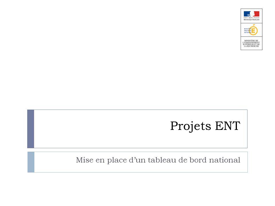 Projets ENT Mise en place dun tableau de bord national