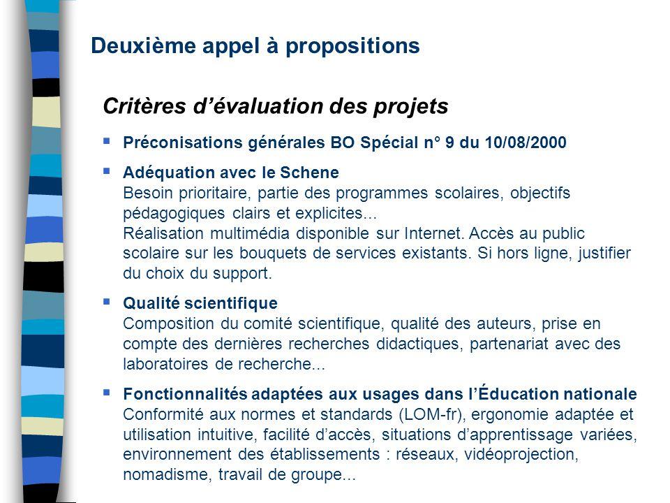 Deuxième appel à propositions Critères dévaluation des projets Préconisations générales BO Spécial n° 9 du 10/08/2000 Adéquation avec le Schene Besoin prioritaire, partie des programmes scolaires, objectifs pédagogiques clairs et explicites...