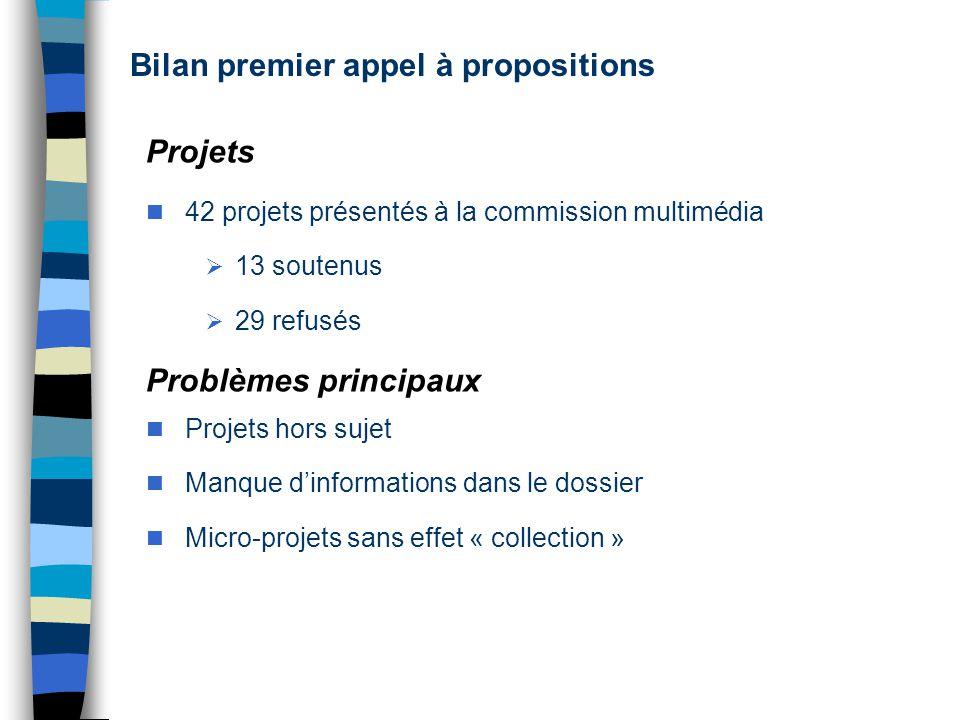 Projets 42 projets présentés à la commission multimédia 13 soutenus 29 refusés Problèmes principaux Projets hors sujet Manque dinformations dans le dossier Micro-projets sans effet « collection »