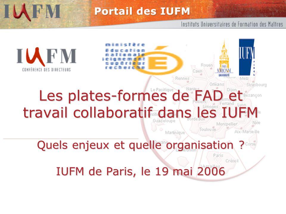 2 2Les environnements numériques dans les IUFM - 2006 Objectifs Échanger et mutualiser autour Des dispositifs numériques utilisés par les IUFM et hébergés par les IUFM, les UNR et le portail des IUFM.