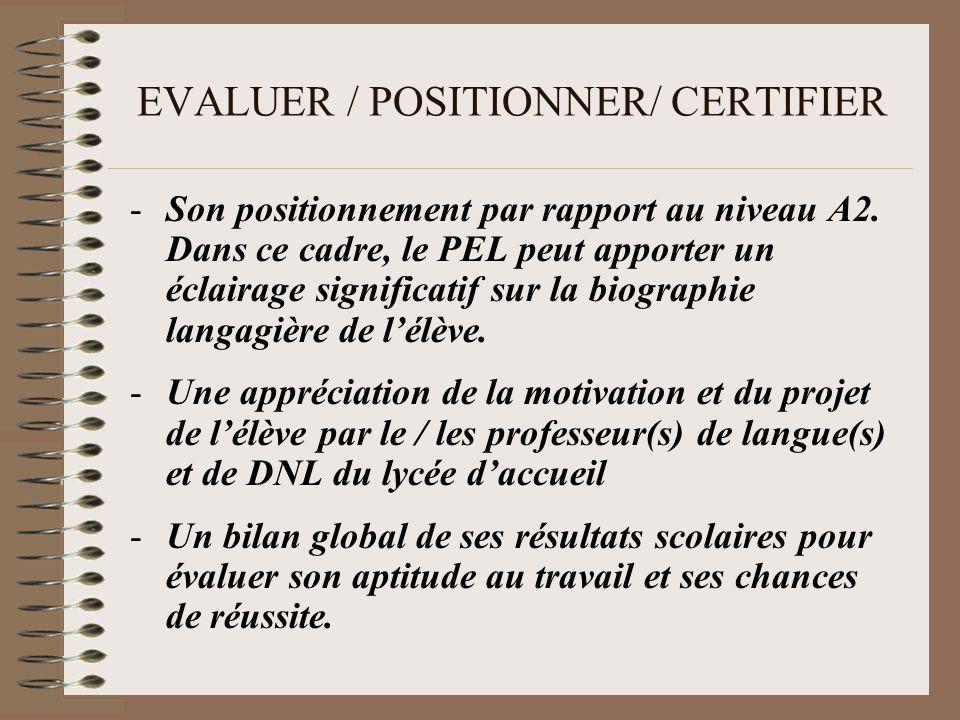 EVALUER / POSITIONNER/ CERTIFIER -Son positionnement par rapport au niveau A2.