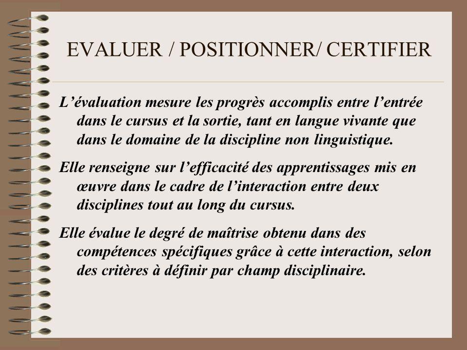 EVALUER / POSITIONNER/ CERTIFIER Lévaluation mesure les progrès accomplis entre lentrée dans le cursus et la sortie, tant en langue vivante que dans le domaine de la discipline non linguistique.