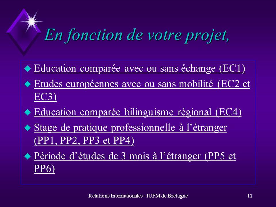 Relations Internationales - IUFM de Bretagne10 Des modalités optionnelles