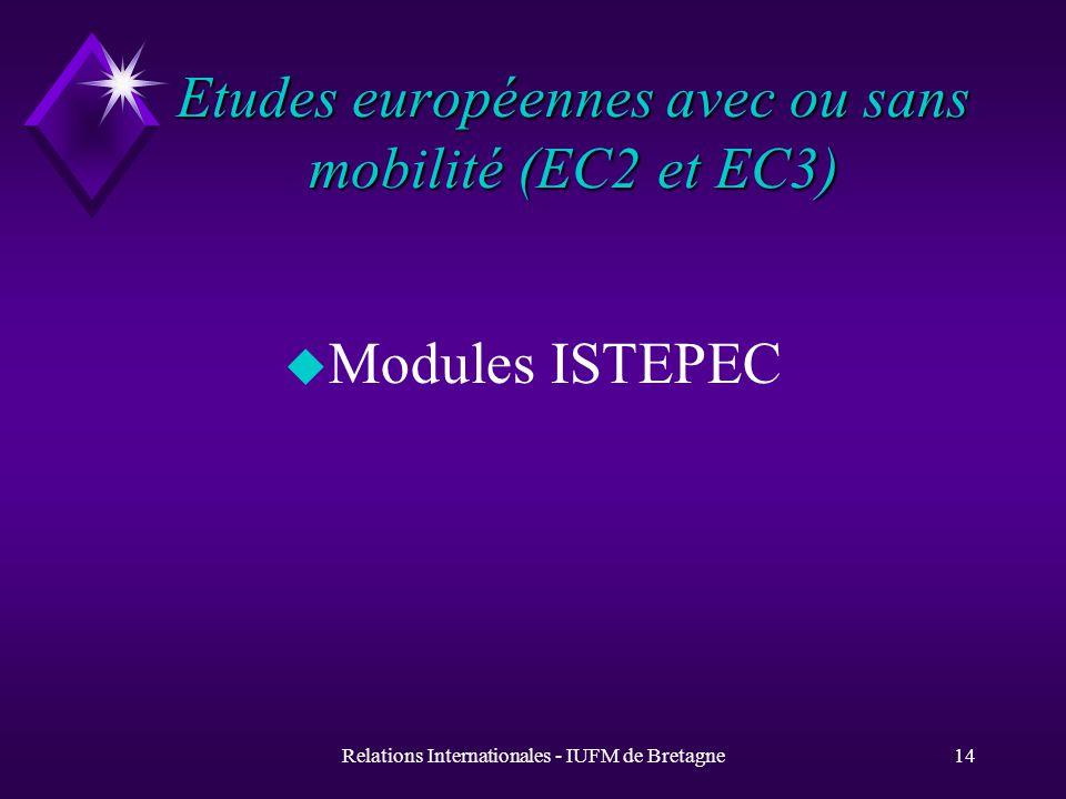 Relations Internationales - IUFM de Bretagne13 Education comparée sans échange (EC1) Constantza Gabès Lodz