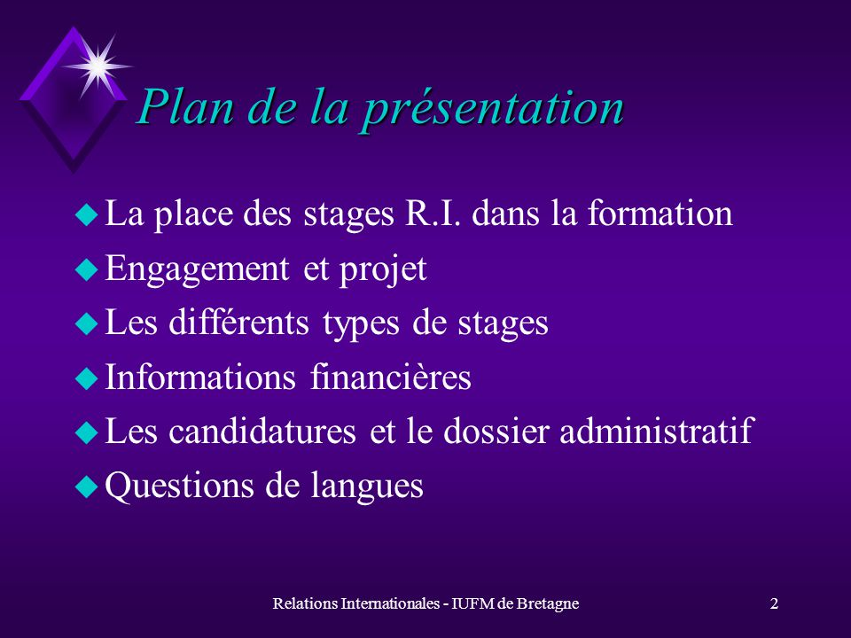 Ouverture internationale Dimension européenne Formations comportant un stage à létranger Année 2005 - 2006