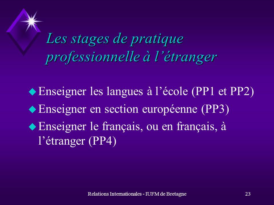 Relations Internationales - IUFM de Bretagne22 Education comparée bilinguisme régional (EC4) u Ces stages sont pilotés par le Centre de Formation pour lEnseignement du breton et en breton (CFEB, site de Saint Brieuc)