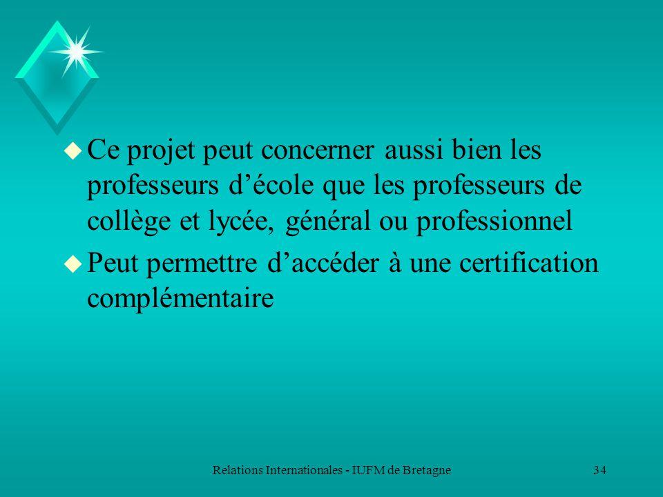 Relations Internationales - IUFM de Bretagne33 Enseigner le français ou enseigner en français dans un établissement bilingue francophone à létranger