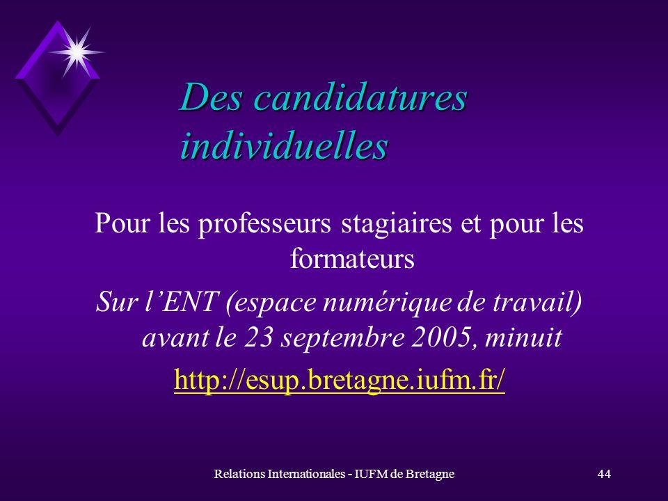 Relations Internationales - IUFM de Bretagne43 Aide à la formation u Les stagiaires Erasmus et DAAD percevront une allocation mensuelle allant de 100 à 307 Euros