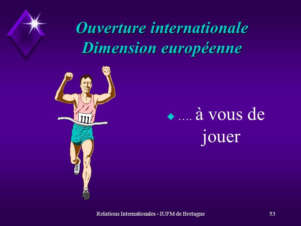 Relations Internationales - IUFM de Bretagne52 Et maintenant, à vous...