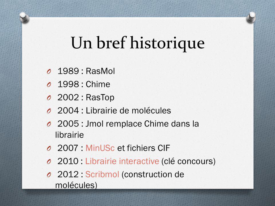 Un bref historique O 1989 : RasMol O 1998 : Chime O 2002 : RasTop O 2004 : Librairie de molécules O 2005 : Jmol remplace Chime dans la librairie O 200