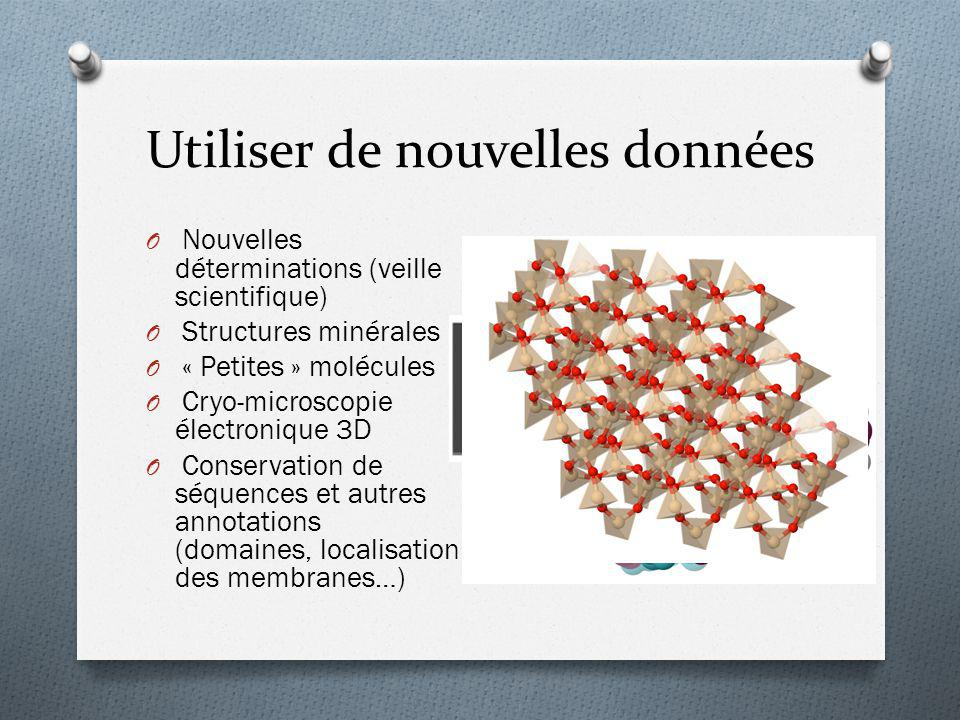 O Nouvelles déterminations (veille scientifique) O Structures minérales O « Petites » molécules O Cryo-microscopie électronique 3D O Conservation de s