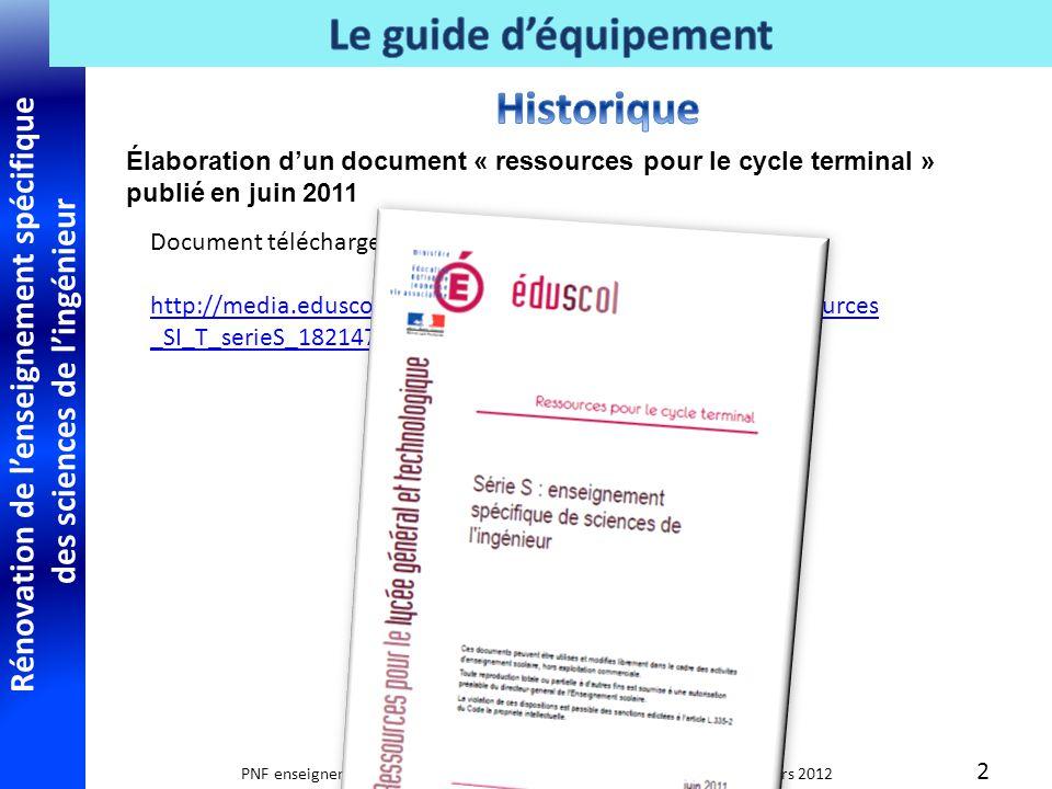 Rénovation de lenseignement spécifique des sciences de lingénieur PNF enseignement spécifique des sciences de lingénieur Paris 27 mars 2012 Ajouts au texte ; chapitre 2.1.2.