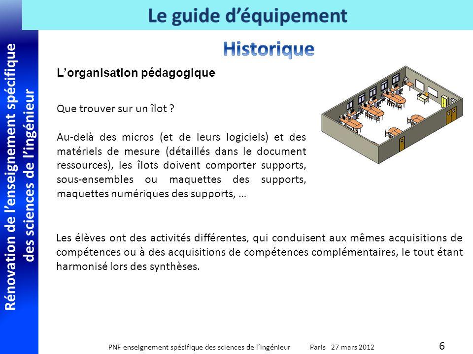 Rénovation de lenseignement spécifique des sciences de lingénieur PNF enseignement spécifique des sciences de lingénieur Paris 27 mars 2012 Pas de liste de matériels .