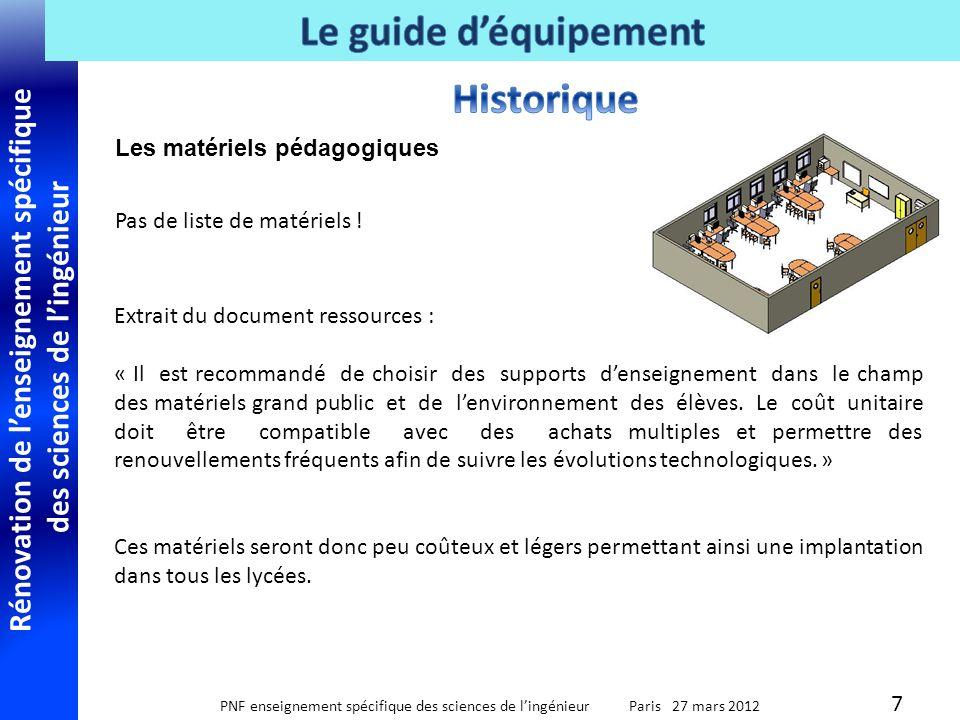 Rénovation de lenseignement spécifique des sciences de lingénieur PNF enseignement spécifique des sciences de lingénieur Paris 27 mars 2012 Liste des matériels de mesures adaptés à chaque support 18