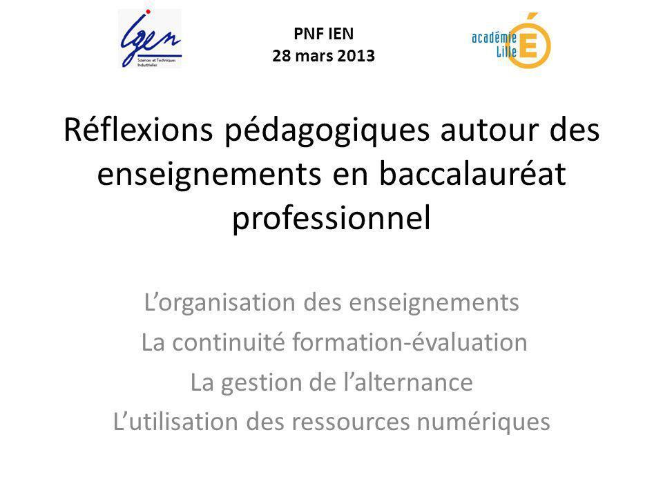 Réflexions pédagogiques autour des enseignements en baccalauréat professionnel Lorganisation des enseignements La continuité formation-évaluation La g