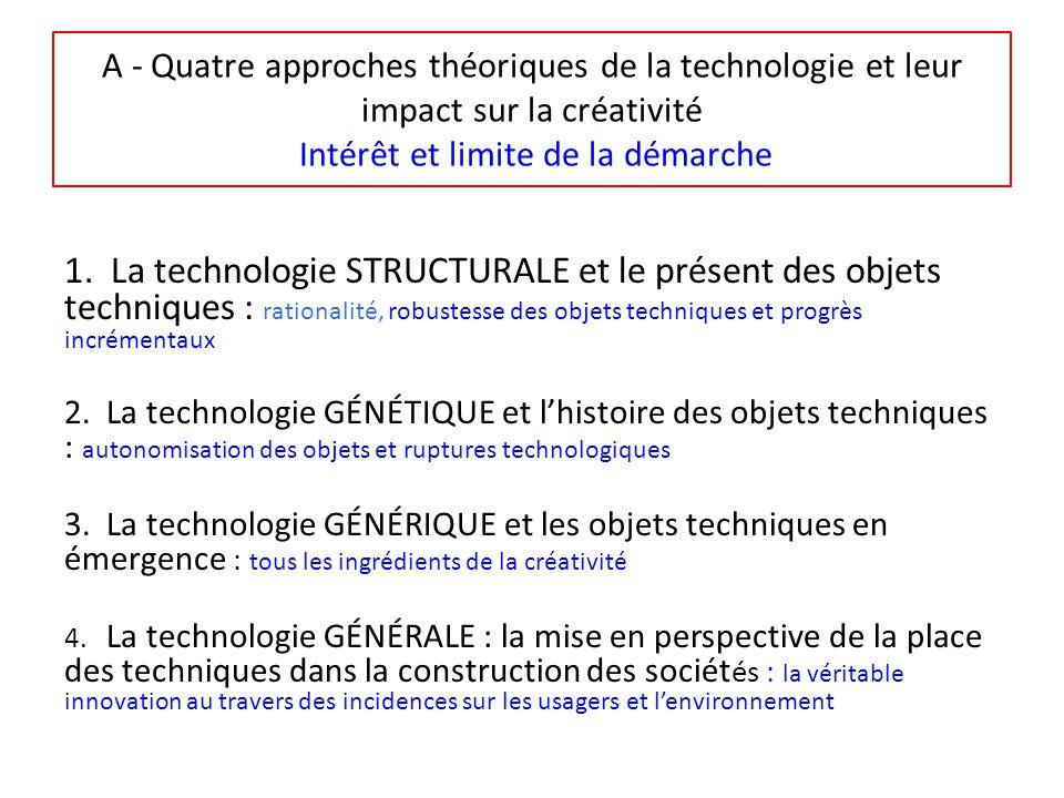 A - Quatre approches théoriques de la technologie et leur impact sur la créativité Intérêt et limite de la démarche 1.