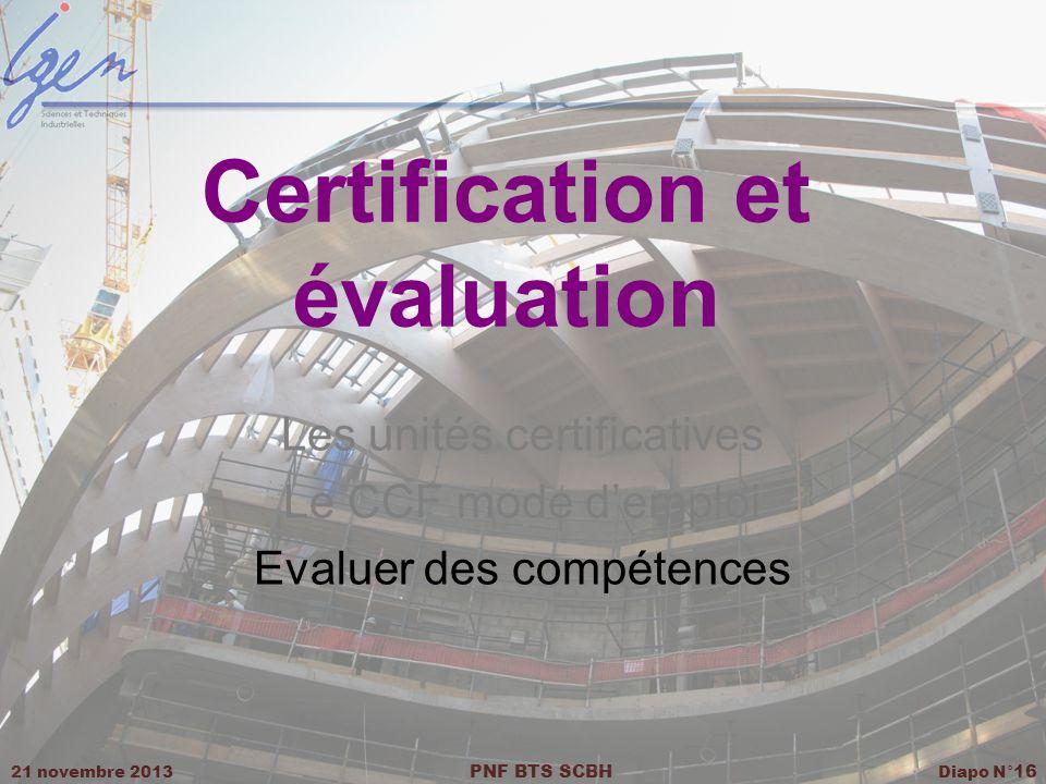 21 novembre 2013 PNF BTS SCBH Diapo N° 16 Certification et évaluation Les unités certificatives Le CCF mode demploi Evaluer des compétences