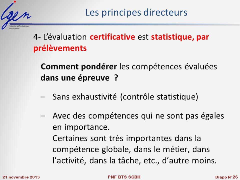21 novembre 2013 PNF BTS SCBH Diapo N° 26 Comment pondérer les compétences évaluées dans une épreuve .