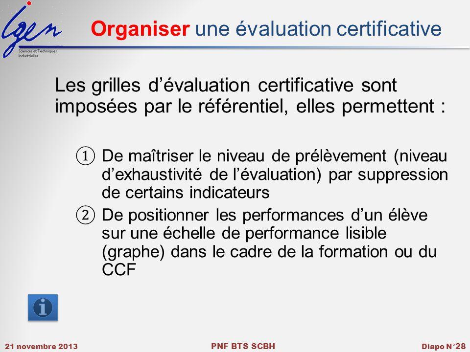 21 novembre 2013 PNF BTS SCBH Diapo N° 28 Organiser une évaluation certificative Les grilles dévaluation certificative sont imposées par le référentiel, elles permettent : De maîtriser le niveau de prélèvement (niveau dexhaustivité de lévaluation) par suppression de certains indicateurs De positionner les performances dun élève sur une échelle de performance lisible (graphe) dans le cadre de la formation ou du CCF