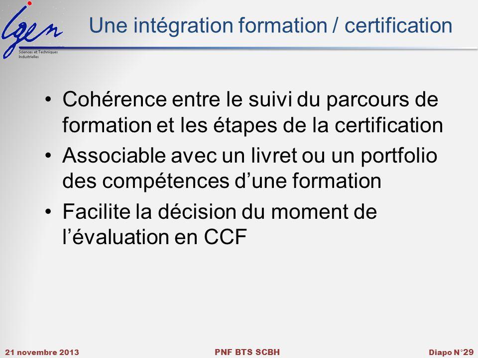 21 novembre 2013 PNF BTS SCBH Diapo N° 29 Une intégration formation / certification Cohérence entre le suivi du parcours de formation et les étapes de la certification Associable avec un livret ou un portfolio des compétences dune formation Facilite la décision du moment de lévaluation en CCF