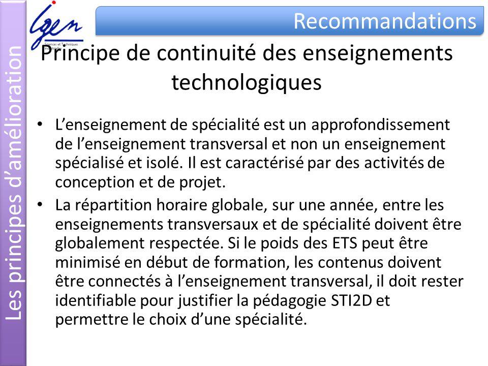 Principe de continuité des enseignements technologiques Lenseignement de spécialité est un approfondissement de lenseignement transversal et non un enseignement spécialisé et isolé.