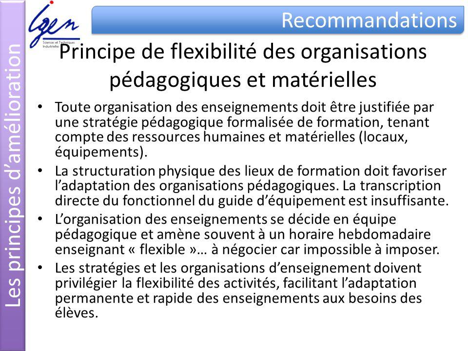 Principe de flexibilité des organisations pédagogiques et matérielles Toute organisation des enseignements doit être justifiée par une stratégie pédag