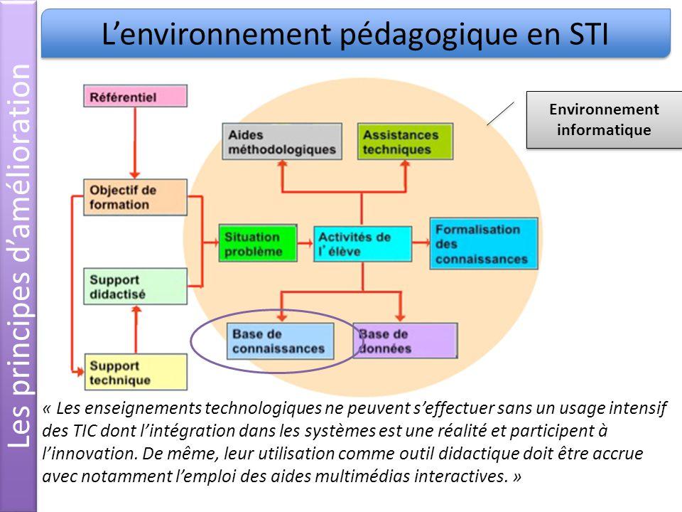 Lenvironnement pédagogique en STI « Les enseignements technologiques ne peuvent seffectuer sans un usage intensif des TIC dont lintégration dans les systèmes est une réalité et participent à linnovation.