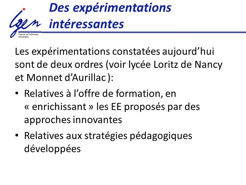 Des expérimentations intéressantes Les expérimentations constatées aujourdhui sont de deux ordres (voir lycée Loritz de Nancy et Monnet dAurillac ): Relatives à loffre de formation, en « enrichissant » les EE proposés par des approches innovantes Relatives aux stratégies pédagogiques développées