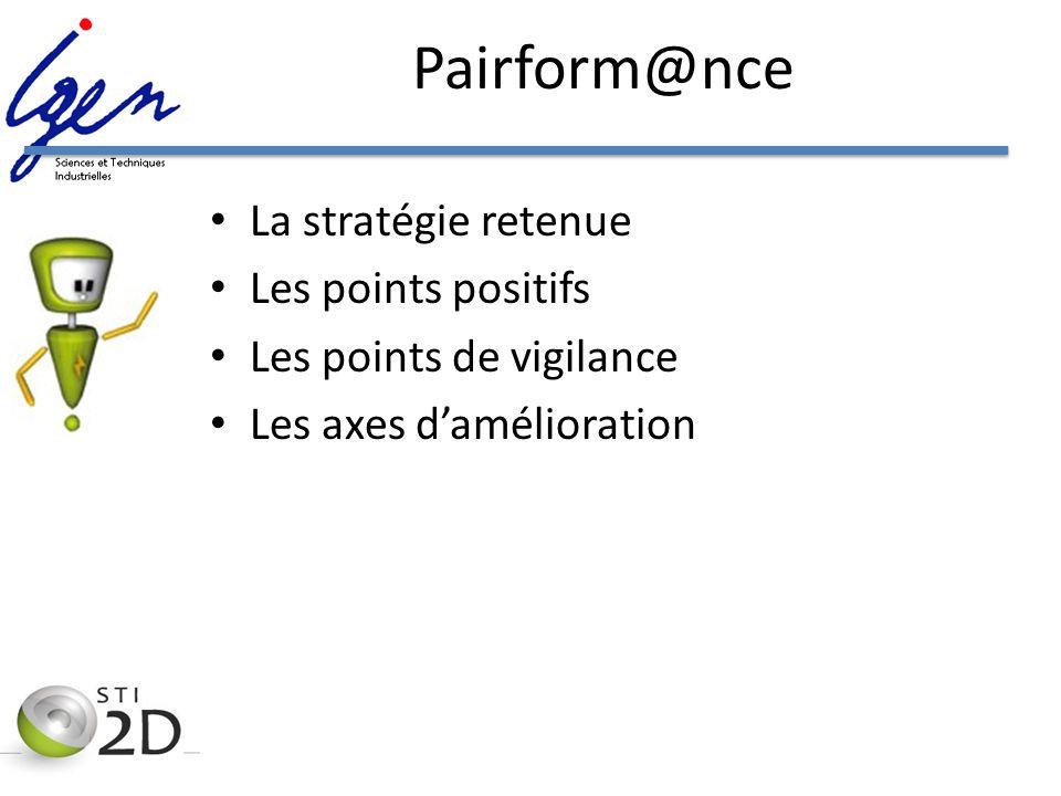 Pairform@nce La stratégie retenue Les points positifs Les points de vigilance Les axes damélioration
