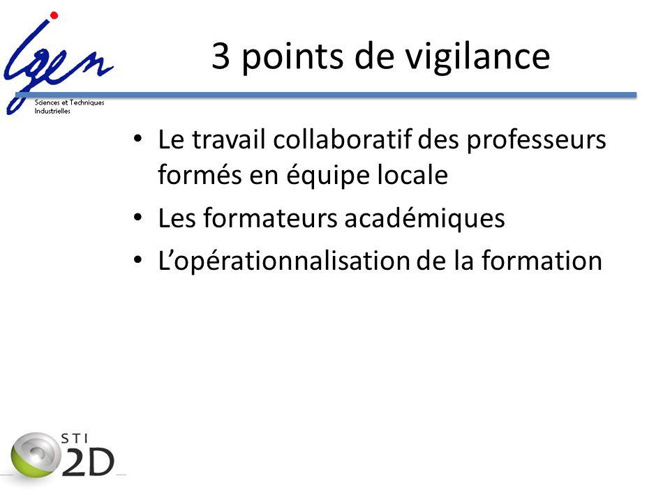 3 points de vigilance Le travail collaboratif des professeurs formés en équipe locale Les formateurs académiques Lopérationnalisation de la formation