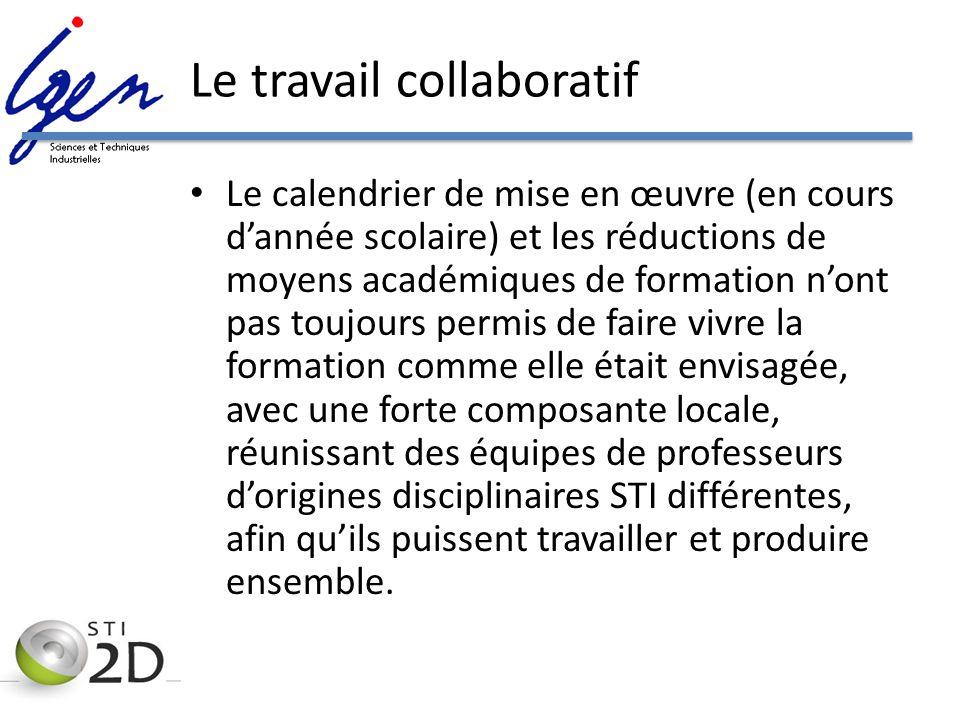 Le travail collaboratif Le calendrier de mise en œuvre (en cours dannée scolaire) et les réductions de moyens académiques de formation nont pas toujou