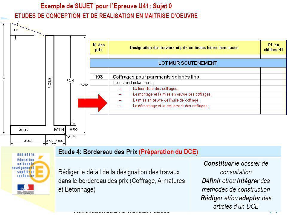 Retour au début Exemple de SUJET pour lEpreuve U41: Sujet 0 ETUDES DE CONCEPTION ET DE REALISATION EN MAITRISE DOEUVRE Rénovation du BTS Travaux Publi