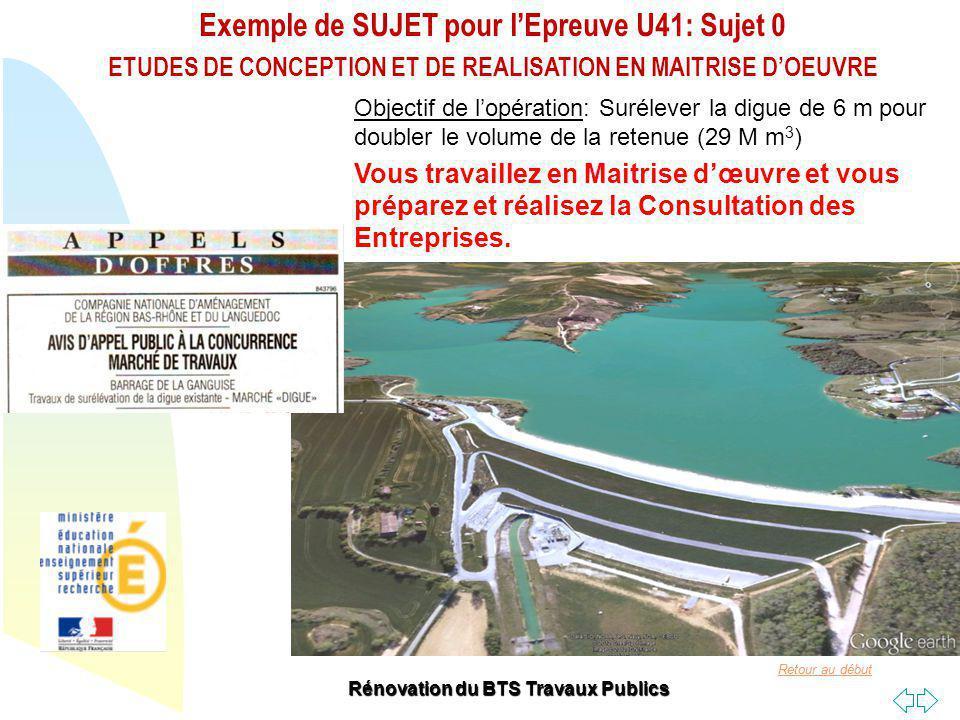 Retour au début Exemple de SUJET pour lEpreuve U41: Sujet 0 ETUDES DE CONCEPTION ET DE REALISATION EN MAITRISE DOEUVRE Rénovation du BTS Travaux Publics