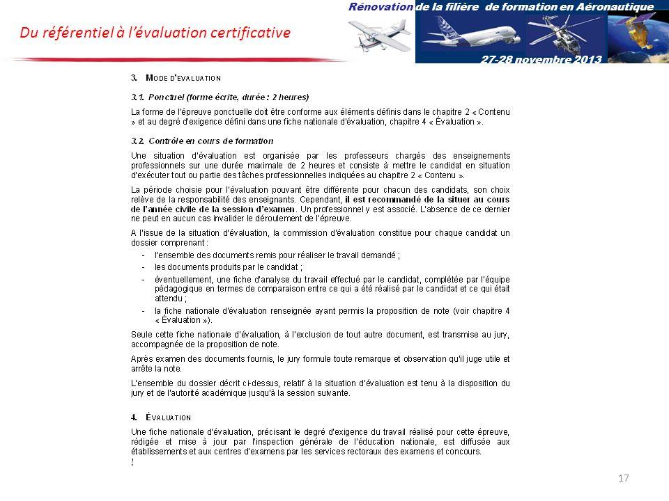 Du référentiel à lévaluation certificative Rénovation de la filière de formation en Aéronautique 27-28 novembre 2013 17