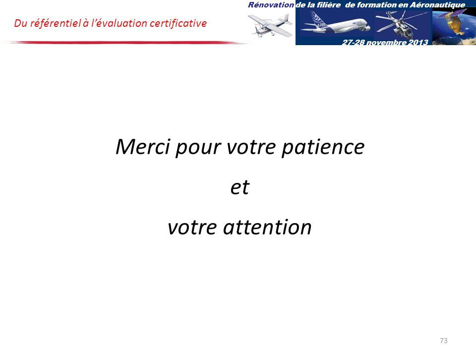 Du référentiel à lévaluation certificative Rénovation de la filière de formation en Aéronautique 27-28 novembre 2013 Merci pour votre patience et votre attention 73