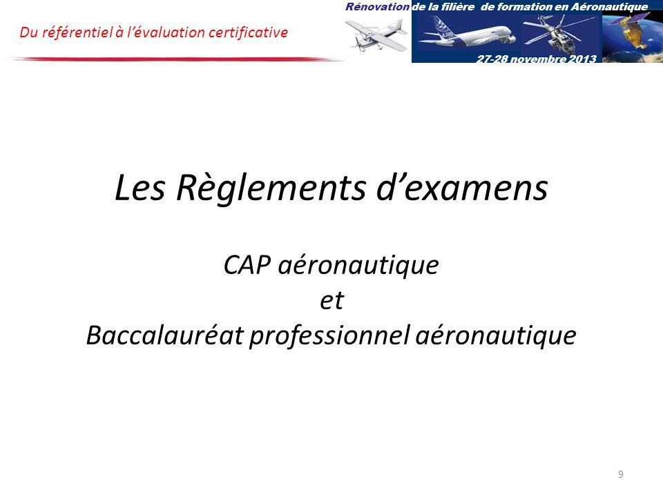 Les Règlements dexamens CAP aéronautique et Baccalauréat professionnel aéronautique Du référentiel à lévaluation certificative Rénovation de la filière de formation en Aéronautique 27-28 novembre 2013 9