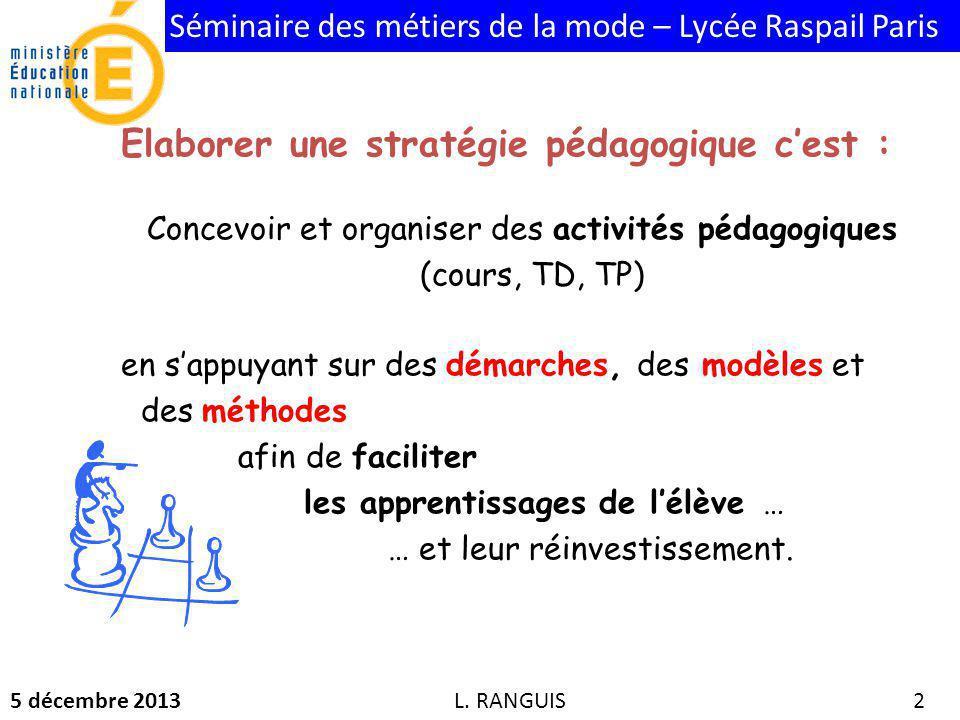 Séminaire des métiers de la mode – Lycée Raspail Paris 5 décembre 2013 2 L.