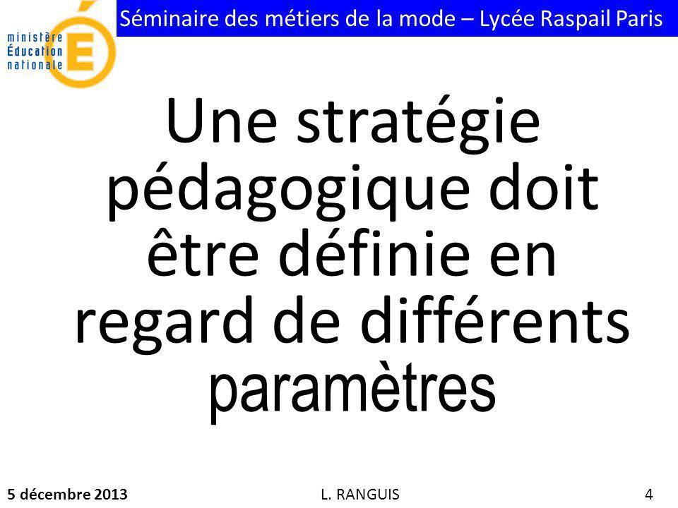 Séminaire des métiers de la mode – Lycée Raspail Paris 5 décembre 2013 4 Une stratégie pédagogique doit être définie en regard de différents paramètres L.