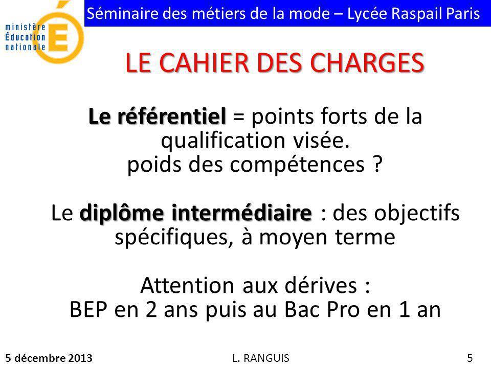 Séminaire des métiers de la mode – Lycée Raspail Paris 5 décembre 2013 5 Le référentiel Le référentiel = points forts de la qualification visée.