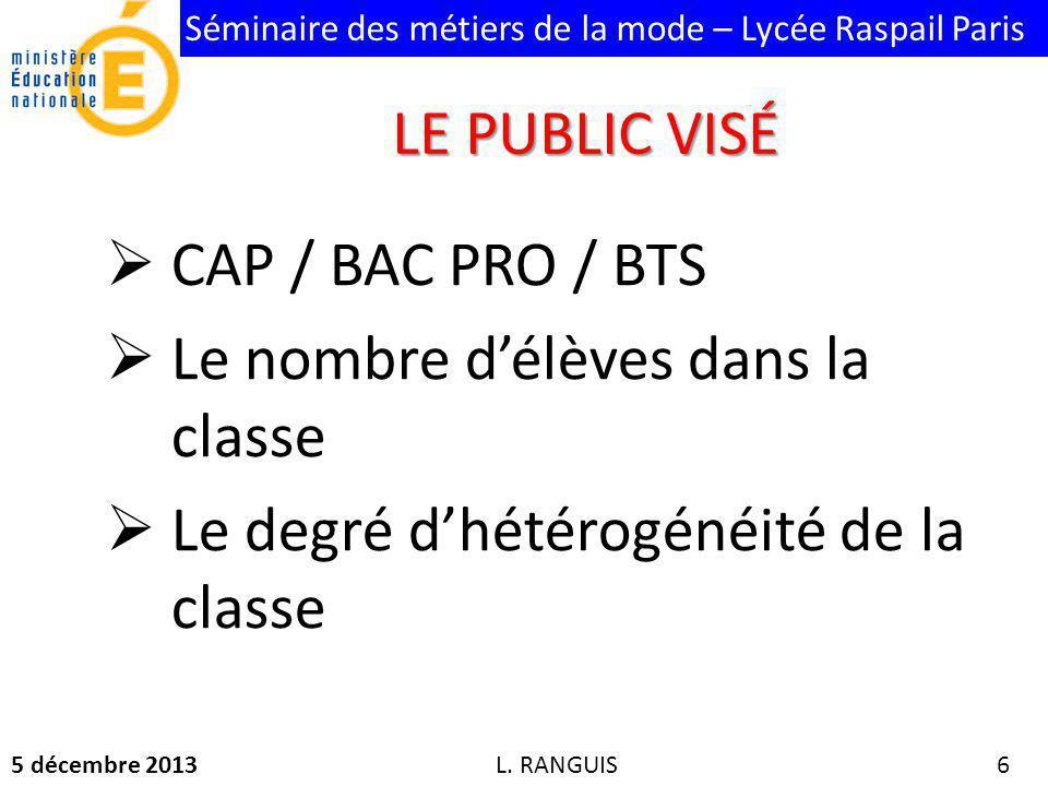 Séminaire des métiers de la mode – Lycée Raspail Paris 5 décembre 2013 6 CAP / BAC PRO / BTS Le nombre délèves dans la classe Le degré dhétérogénéité de la classe L.