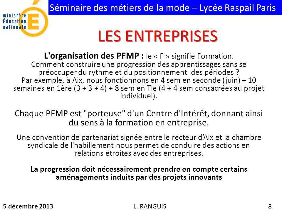Séminaire des métiers de la mode – Lycée Raspail Paris 5 décembre 2013 8 L organisation des PFMP : le « F » signifie Formation.