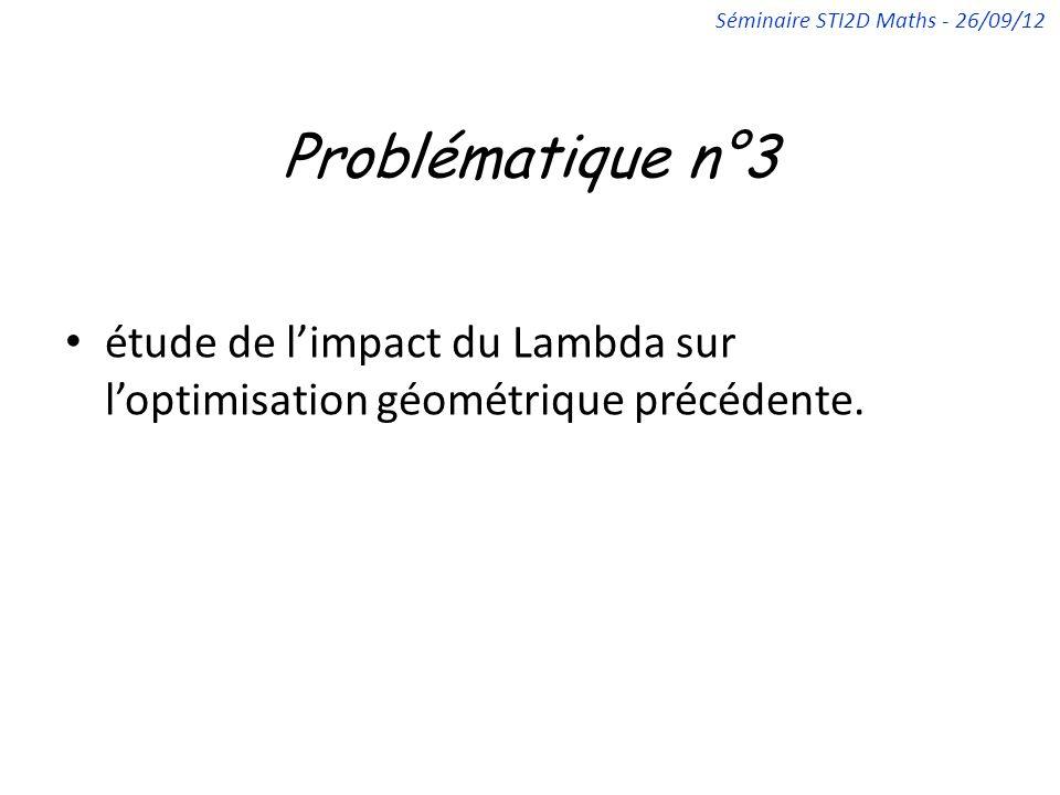 Problématique n°3 étude de limpact du Lambda sur loptimisation géométrique précédente. Séminaire STI2D Maths - 26/09/12