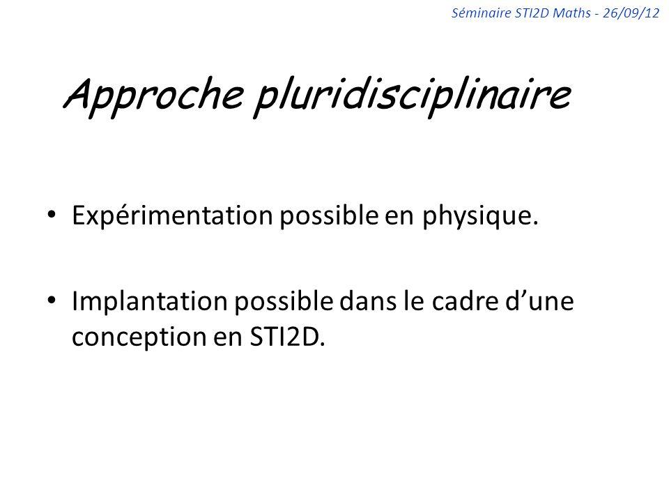 Approche pluridisciplinaire Expérimentation possible en physique. Implantation possible dans le cadre dune conception en STI2D. Séminaire STI2D Maths