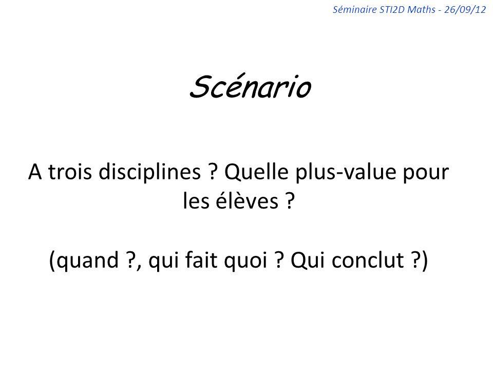 Scénario A trois disciplines ? Quelle plus-value pour les élèves ? (quand ?, qui fait quoi ? Qui conclut ?) Séminaire STI2D Maths - 26/09/12